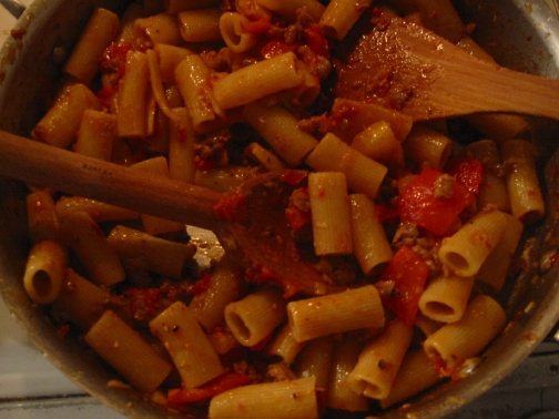 Rigatoni with pork sausage and red and yellow peppers