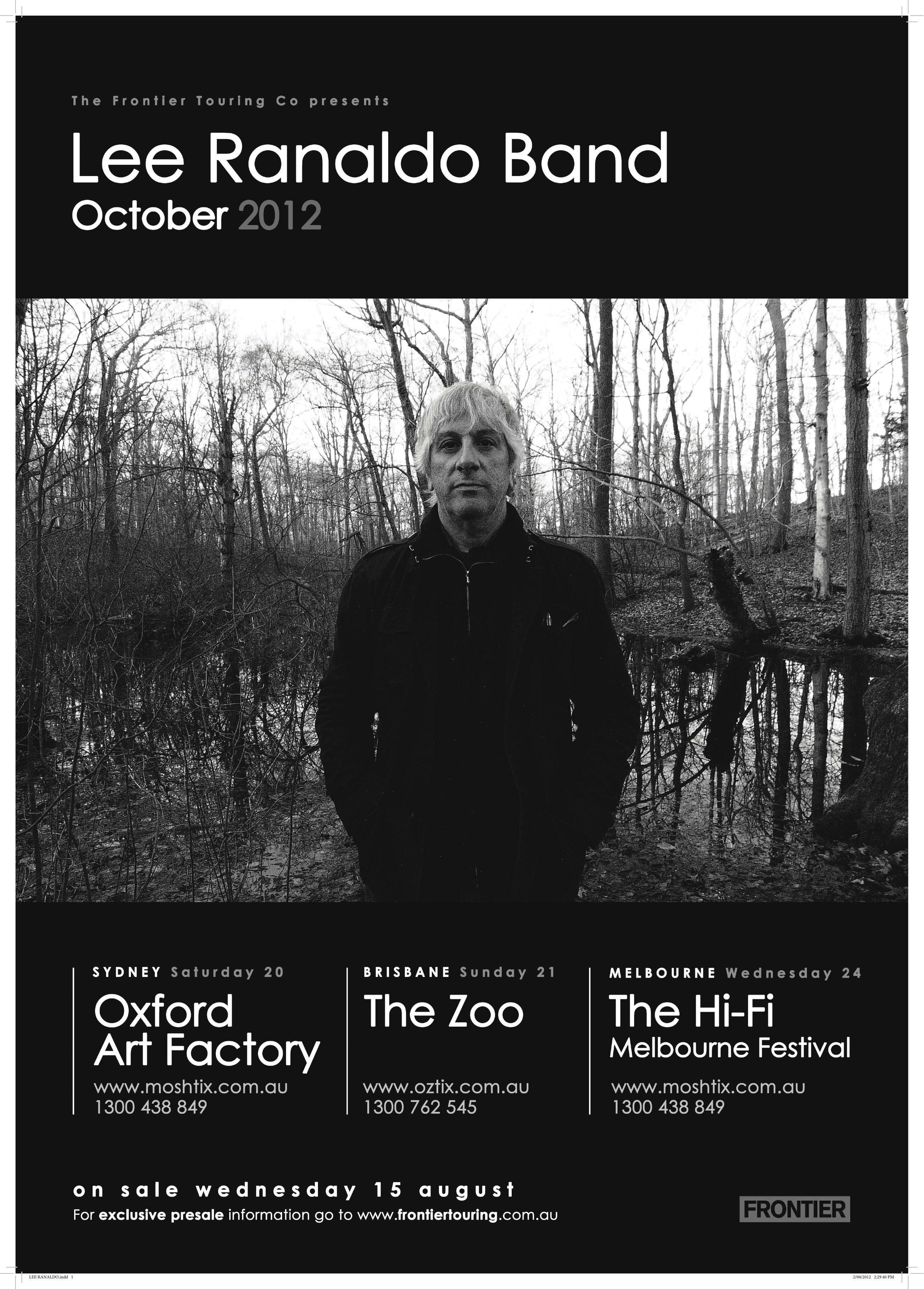 Lee Ranaldo- A2 Cafe Poster NATIONAL